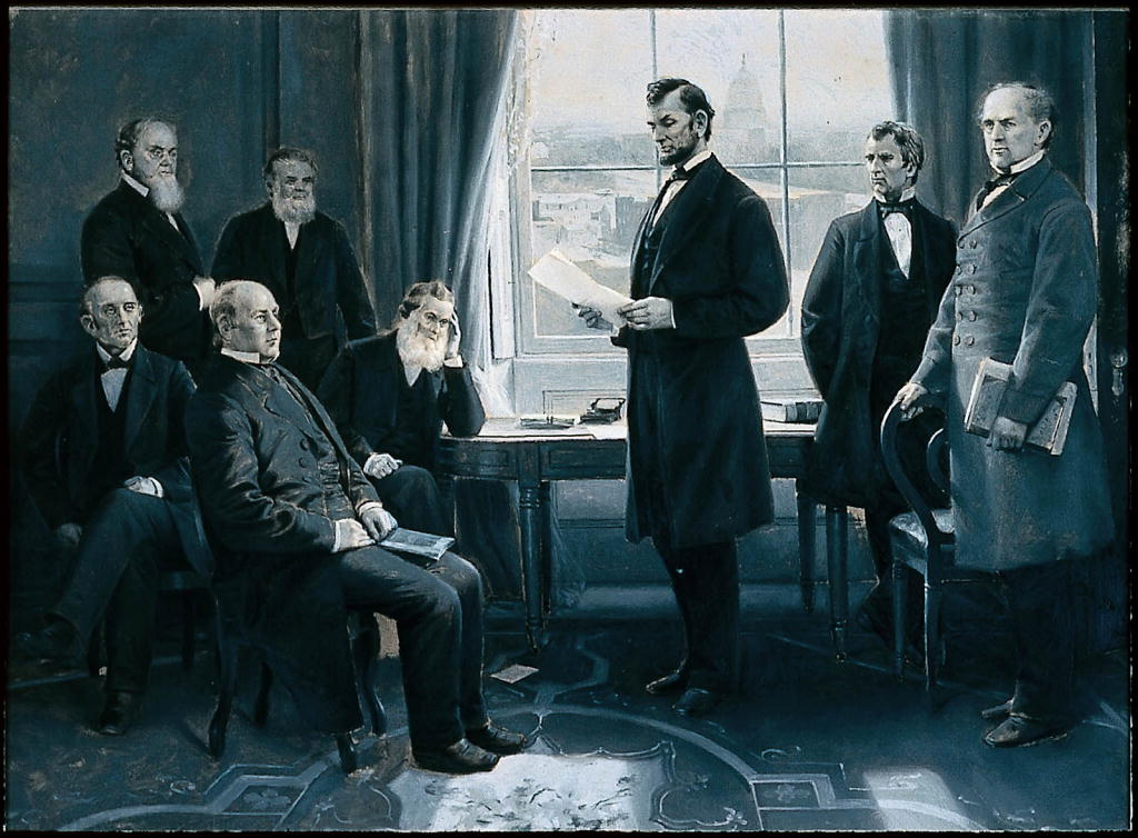 Illustration of Abraham Lincoln reading his Proclamation of Emancipation to his cabinet members