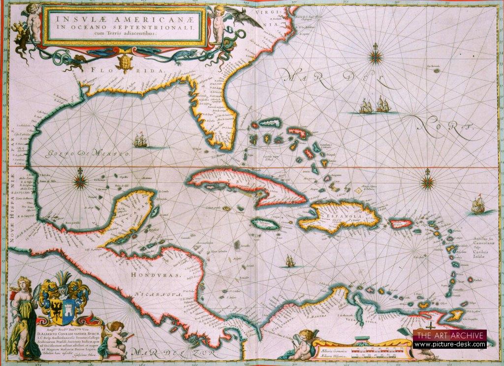 Image of Map of Caribbean islands including Cuba Hispaniola and Coastline of Honduras Guatemala